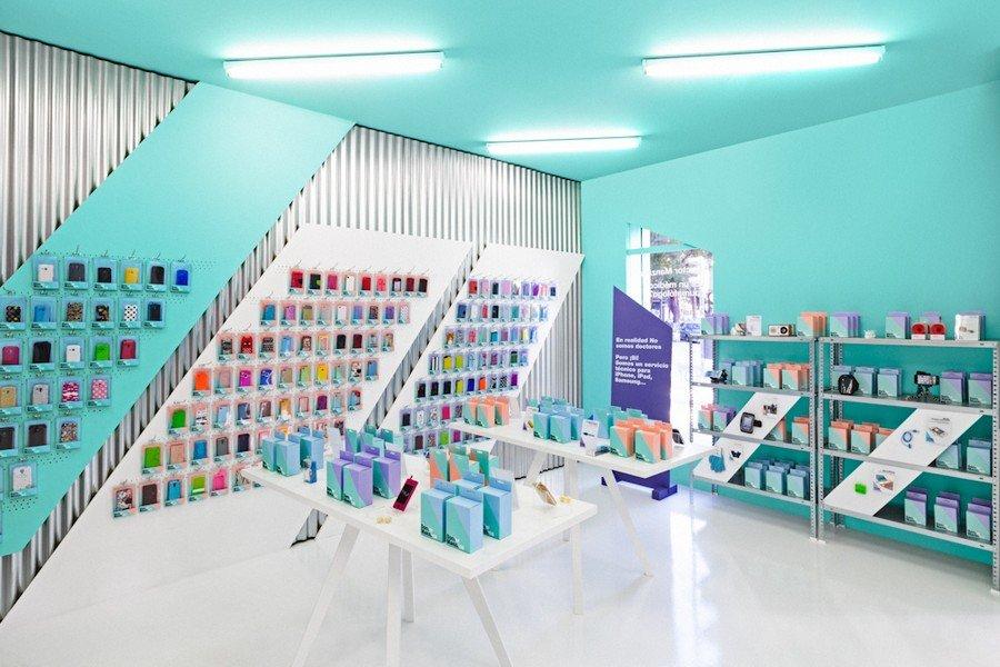 Diseño colorido de una tienda  de Smartphones